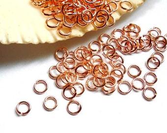 100 Rose Gold Plated Jump Rings 3mm, Open Loop - 9-RG-3OL
