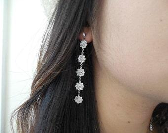 Swarovski Crystal Flowers Earrings, Bridal Earrings, Bridesmaids Earrings, Vintage Style Bridal Earrings, Weddng Jewelry