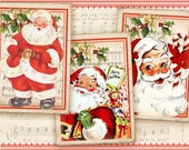 Christmas Santa greeting cards Gift tags Printable download on Digital collage  sheet best for Christmas decor - CHRISTMAS SANTA CARDS