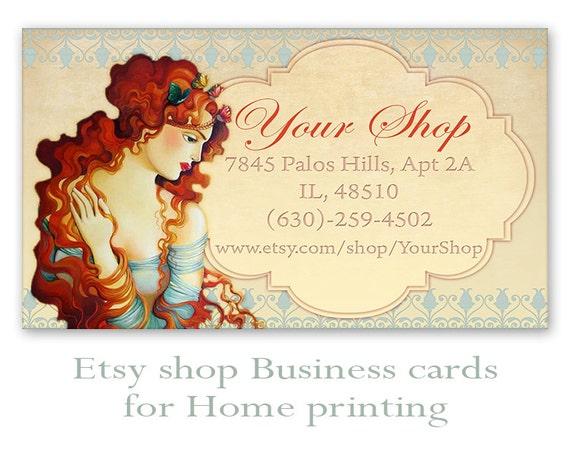 Etsy shop business cards on digital collage sheet printable for Etsy shop business cards