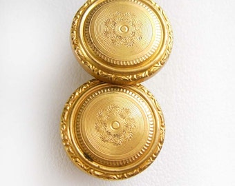 STUNNING Victorian Button Studs Vintage Cufflinks Men's Fine Clothing Accessory engine turned gold mens estate jewelry