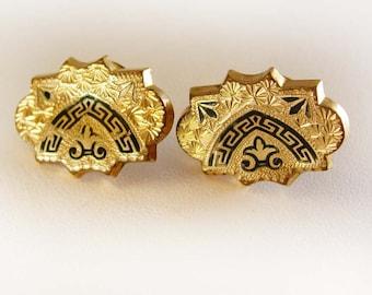 Victorian Rose Gold Filled Cufflinks D'Espergne Enamel Stud Fleur De Lis Fine jewelry