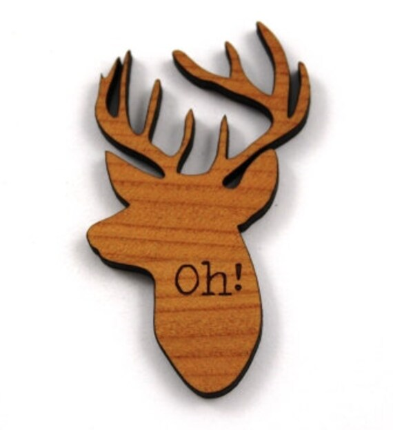 Laser Cut Supplies-1 Piece. OH Deer Head Charms - Mixed Laser Cut Wood Deer -Brooch Supplies- Little Laser Lab Sustainable Wood Products