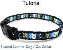 Beading Tutorial Pattern - Beaded Dog Cat Pet Collar - Simple Bead Patterns - Mix Bead Pet Collar #6397