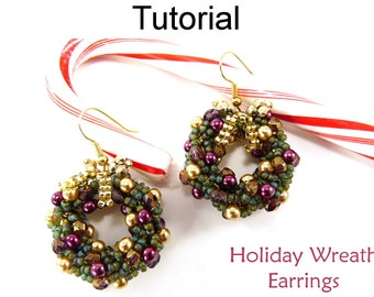Christmas Earrings Beading Tutorial - Double Spiral Stitch - Simple Bead Patterns - Holiday Wreath Earrings #3464