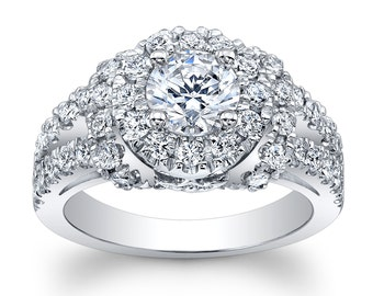 Ladies 14kt white gold pave diamond  engagement ring w/1ct natural Round Brilliant Cut white sapphire with 1.25 ctw G-VS2 diamonds