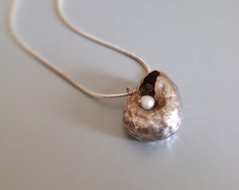 "Pearl Shell"""" Sterling silver clay jewellery - silver clay Beach Summer Pendant Necklace"