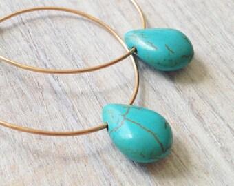 Hoop earrings, large hoop earrings, gold hoops, turquoise hoop earrings, gold drop earrings, silver hoops, everyday earring