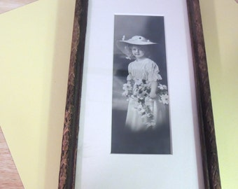 Victorian Little Girl with Flowers Framed Photograph