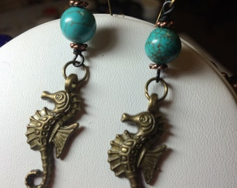 Turquoise and Seahorse Earrings