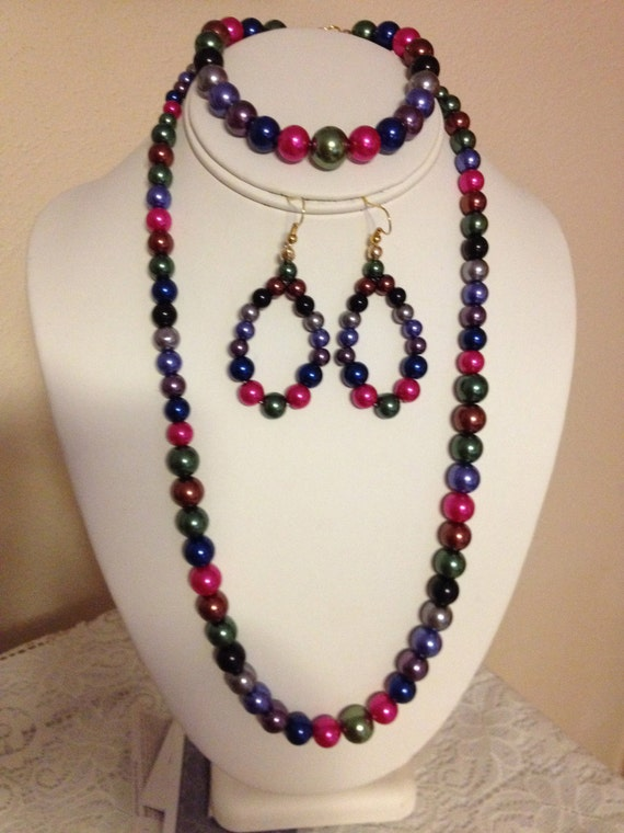 colorful beaded necklace set by karlajophoto on etsy