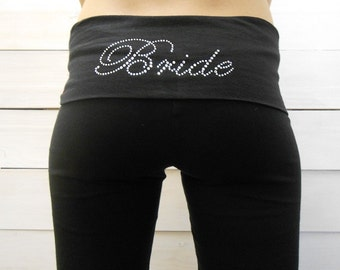 Bride Yoga Pants. Bride Yoga Leggings. Bride Yoga Capris. Bride Capri Pants. Bride Leggings. Bride Pants. Bride Lounge Pants.