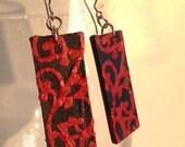 Navy & Red Handmade Hanji Paper Dangle Earrings Swirl Design Hypoallergenic hooks Lightweight Ear rings