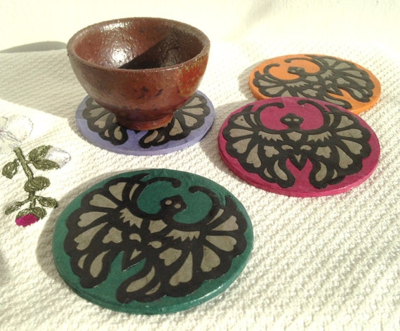 Bat Hanji Paper Coasters, Traditional Korean Design, Handmade Coasters, Zen Decor, Asian Decor, Longevity Symbol (set of 4)