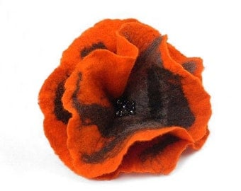 Felted Brooch Nunofelt flower Tangerine nuno felt silk orange folk boho wool victorian fairy