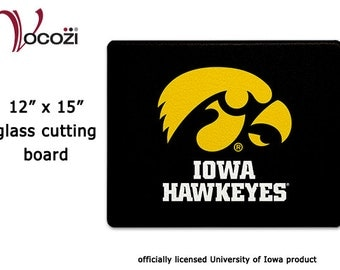 "Iowa Hawkeye Tigerhawk Glass Cutting Board - 12""x15"""