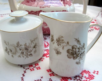 "Haviland ""Twilight Rose"" Cream and Sugar Set"