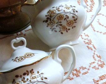 Cream and Sugar Set, Karolina, Polish, Brown and White