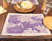 "Set of 6 ""Vernal Pond"" linen placemats block print design by Isabel Natti"