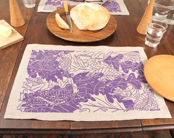 "Set of 4 ""Vernal Pond"" linen placemats block print design by Isabel Natti"