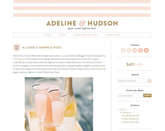 "Blogger Template Premade Blog Theme Design ""Adeline & Hudson"" Gold Pink Stripes"