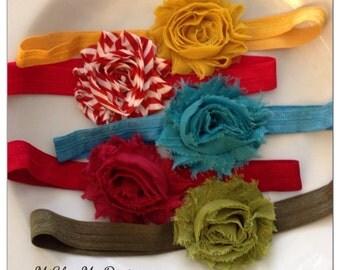 Five Shabby Chic Flower Headband, Newborn Flower Headband, Girls Flower Headband, Baby Girl Flower Headband, Infant Headband