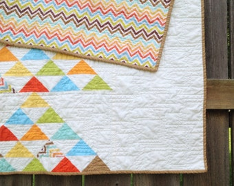Modified Flying Geese Crib Quilt, gender neutral