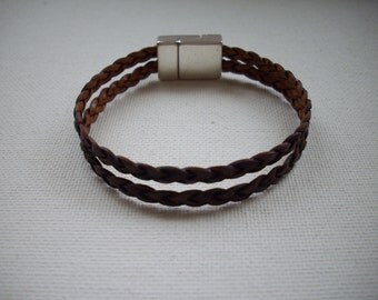 Brown Breaded Leather Double Strand Bracelet with Silver Magnetic Clasp