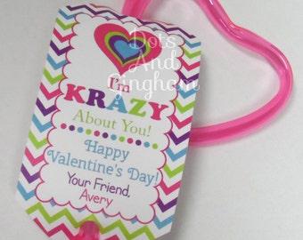 Krazy Straw Valentines Day Tag-Printable Valentines Kids Tags-Krazy Straw Valentine-Printable Valentine Tag-Kids Krazy Straw Valentine Tag