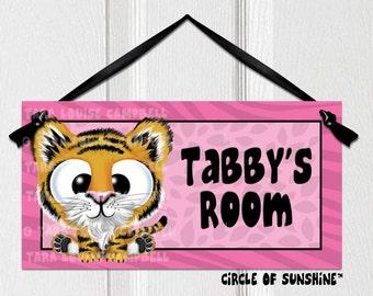 Door Sign, Tiger, Pink, Safari Jungle Animals, Home Decor, Office Decor, School Classroom Decor