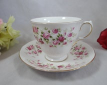 1960s Vintage English Queen Anne Bone China Teacup Cascade Roses Footed English Teacup and Saucer English Tea cup