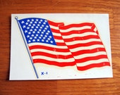 Vintage 1950s-60s American Flag Wet Transfer Decal
