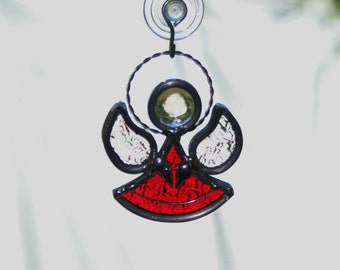 Stained Glass Red Angel Sun catcher, Guardian Angel Ornament