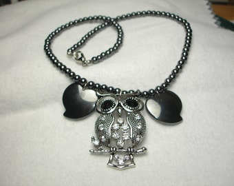 Hematite and Rhinestone Silver Tone Owl Necklace