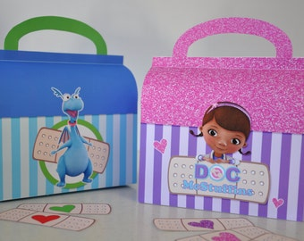 Doc McStuffins Doctor bag & Stuffy Checkup bag favor box combo for birthday party NON-PERSONALIZED pdf includes FREE Doc and heart bandages!