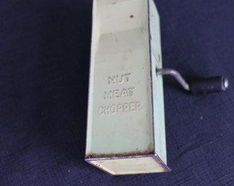 Vintage Farmhouse Green Metal Nut Meat Chopper Grinder
