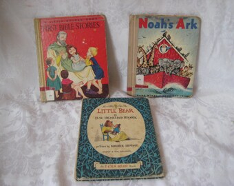 Collection of childrens books, First Bible Stories, Noahs Ark, Little Bear, vintage hard back books, 1136