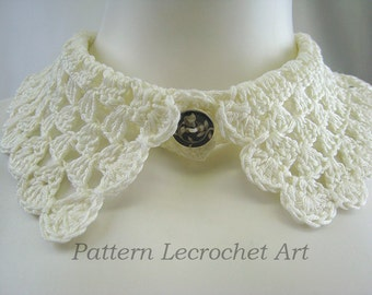 Crochet pattern necklace collar, fashion accessory, lace collar crochet pattern