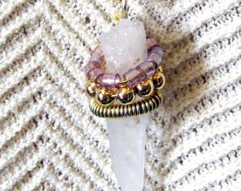Quartz Point Wire Wrapped Necklace Bohemian Jewelry
