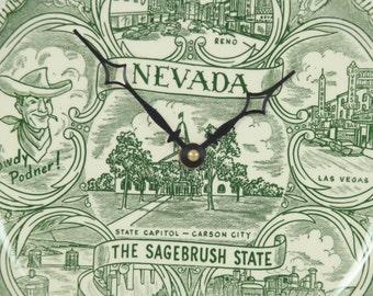 Nevada Plate Clock, Upcycled Souvenir Plate, Wall Clock, Geekery, Handmade Clocks, Clocks by DanO
