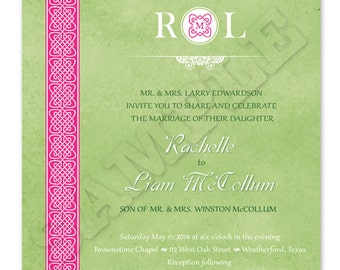 Printable Celtic Wedding Invitation - Square