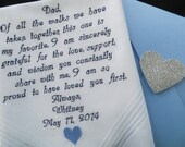 Wedding handkerchief for Dad. Embroidered Wedding Gift. You may change this verse to make it more special for you father on your Wedding day