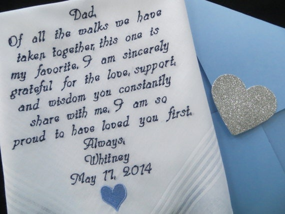 Gift For Dad On Wedding Day Handkerchief : Wedding handkerchief for Dad. Embroidered Wedding Gift. You may change ...