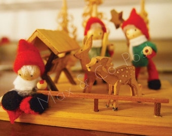 Felted Gnomes and Wooden Deer Christmas Holiday postcards - Set of 5