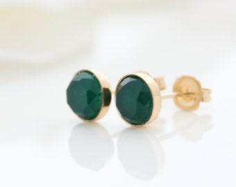 Emerald stud earrings • Green agate set in gold post earrings • Gift for her