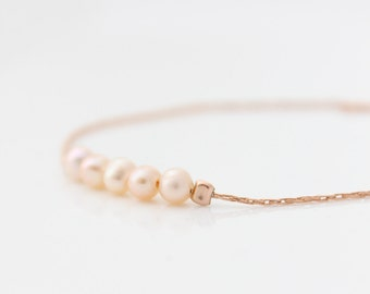 Dainty Pearl Bracelet • Delicate rose gold bracelet with pearls