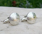 Sterling Silver Floral Textured Cufflinks, Round Silver Cufflinks for Men or Women, Fashion Accessories for Him or Her