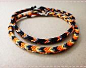 Orange & Black Handmade Friendship Bracelet Couple Bracelets Set of 2