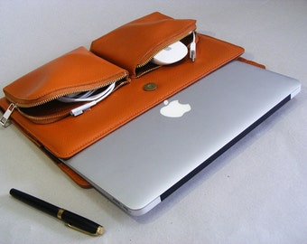 Apple Macbook Pro Carrying Briefcase Case and for Pro with Retina Laptop in Full Grain Leather Apple slim Case