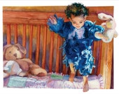 Watercolor Painting of Little Girl Jumping on Bed, Paintings of Children, Baby in Crib, Storybook Illustrations, Learning to Fly